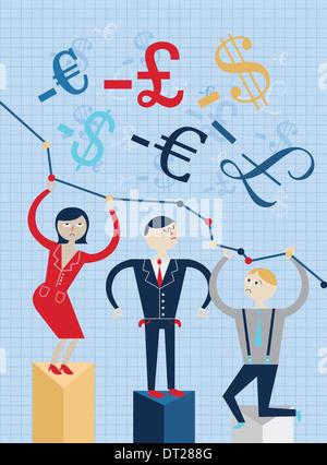 Anschauliches Bild von Geschäftsleuten auf Grafik repräsentieren Wirtschaftskrise stehen - Stockfoto