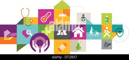 Illustrative Collage von Versicherungen auf weißem Hintergrund