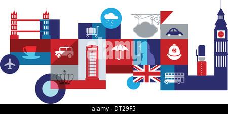 Illustrative Collage, die die Stadtleben in London, Großbritannien - Stockfoto