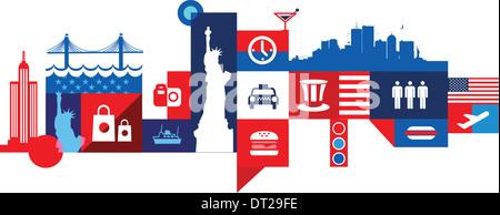 Illustrative Collage aus Stadtleben in New York, USA - Stockfoto