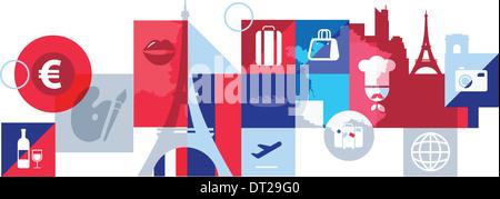 Illustrative Collage aus Stadtleben in Paris, Europa - Stockfoto