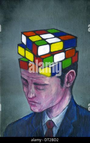 Anschauliches Bild der Geschäftsmann mit Block Puzzle auf dem Kopf, Verwirrung darstellt - Stockfoto