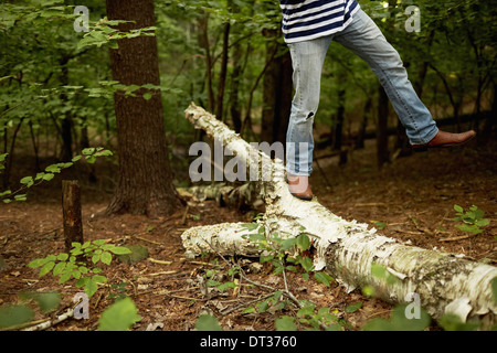 Mann zu Fuß entlang einem gefallenen Baumstamm in die Wälder Bilanzierung - Stockfoto