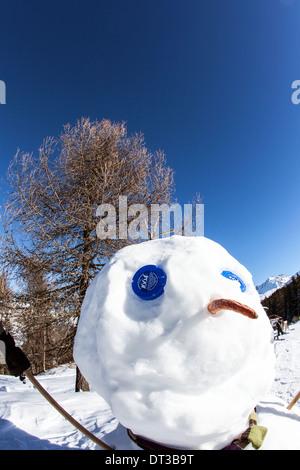 Schneemann La Plagne französische Alpen - Stockfoto