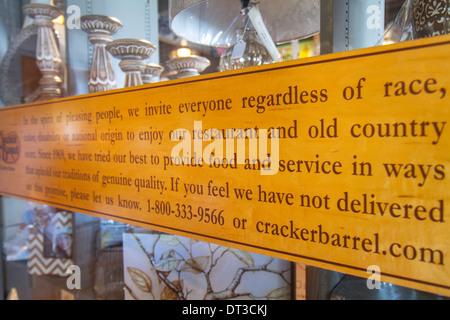 Vero Beach Florida Cracker Barrel Old Country Store Kette südliches Land Thema Restaurant Geschenk Shop Americana - Stockfoto