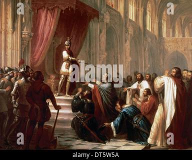 Ramiro II (c.1075-1157), genannt den Mönch. König von Aragon. Die Glocke von Huesca von Antonio Maria Esquivel (1806 - Stockfoto