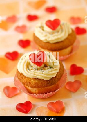 Romantische Cupcakes. Rezept zur Verfügung. - Stockfoto