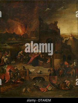 Die Versuchung des Heiligen Antonius, aus dem 16. Jahrhundert. Künstler: Bosch, Hieronymus, (Schule) - Stockfoto