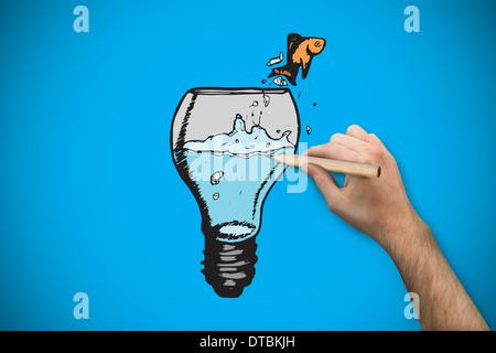 Zusammengesetztes Bild von Hand mit einem Bleistift - Stockfoto