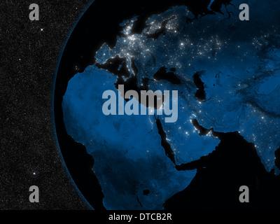 Übernachtung in Europa, Nahost und Afrika Region mit Citylights aus dem Weltraum betrachtet. Elemente des Bildes - Stockfoto