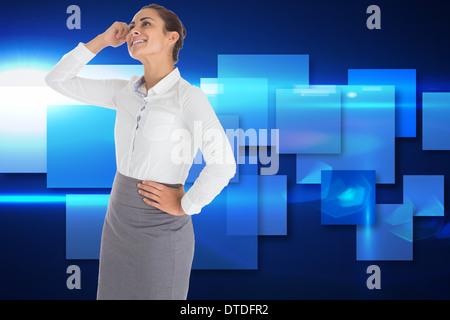 Zusammengesetztes Bild des lächelnden nachdenklich Geschäftsfrau - Stockfoto