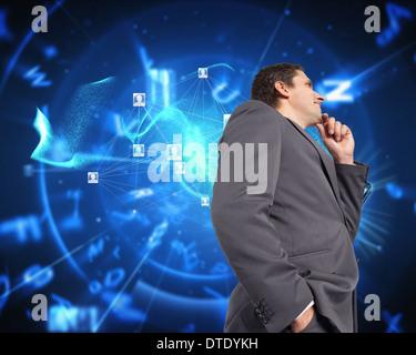 Zusammengesetztes Bild des nachdenklichen Geschäftsmann mit Hand am Kinn - Stockfoto