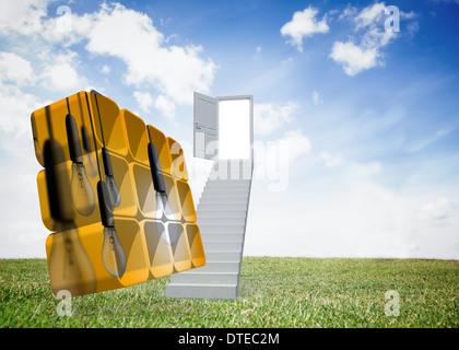 Zusammengesetztes Bild von Glühbirnen auf abstrakte Bildschirm - Stockfoto