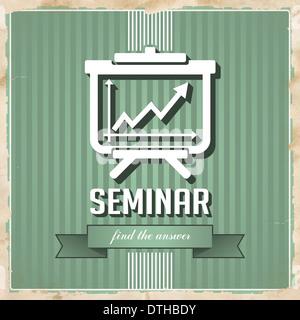 Seminar-Konzept auf grün im Flat Design. - Stockfoto