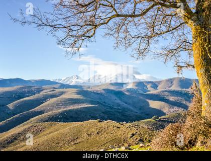 Eine schneebedeckte Monte Cinto im Morgengrauen entnommen den Col de San Colombano im Norden Korsikas bei Sonnenaufgang - Stockfoto