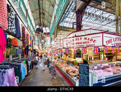 Halifax Borough Market in der Innenstadt, Halifax, West Yorkshire, England, UK - Stockfoto