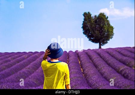 Europa, Frankreich, Alpes-de-Haute-Provence, 04. Touristen vor einem Lavendelfeld. - Stockfoto