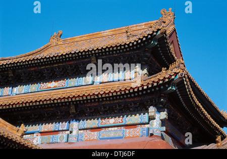 China. Beijing. Verbotene Stadt. Dach eines Gebäudes im Inneren.