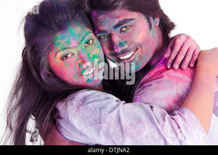 paar feiern Holi - Stockfoto