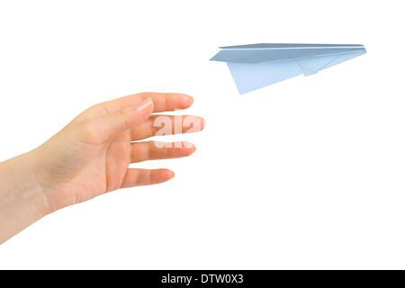 Hand und fliegenden Geld Flugzeug - Stockfoto