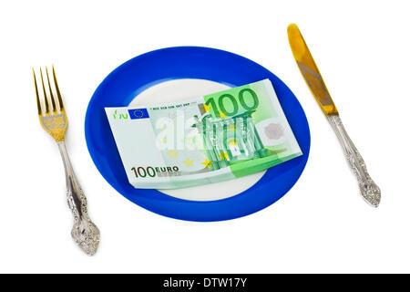 Geld auf Platte - Stockfoto
