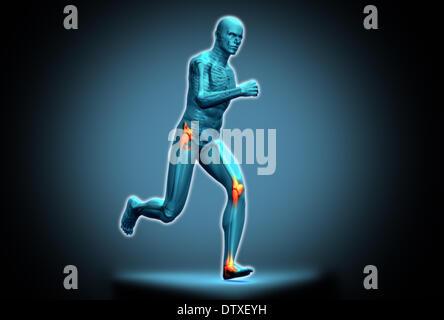 Blaue menschliche Figur läuft - Stockfoto