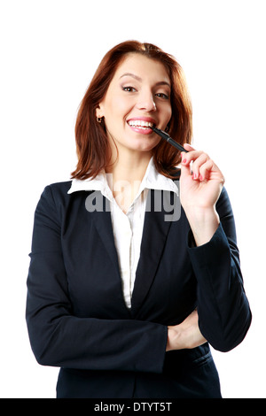 Lächelnde Geschäftsfrau Frau mit Stift isoliert auf weißem Hintergrund - Stockfoto
