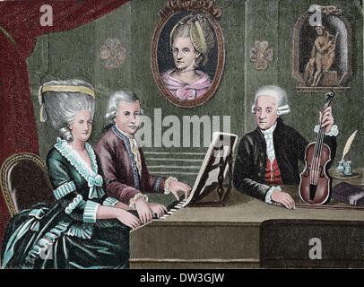 Wolfgang Amadeus Mozart (1756-1791). Komponisten der Klassik. Mozart und seine Familie. Farbige Gravur.