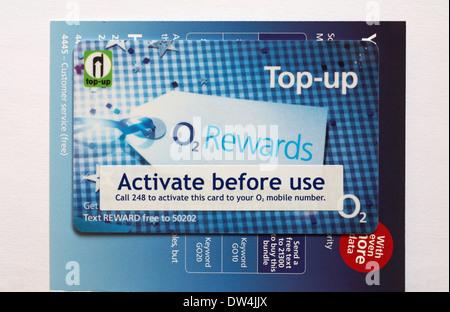 Aufladen aktivieren vor Gebrauch O2 Prämien - zahlen & gehen gehen gehen Nano-Sim-Karte für Iphone 5 s - Stockfoto