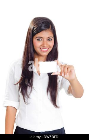 indische Frau Identität Visitenkarte - Stockfoto
