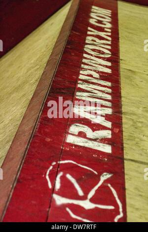 Rampworx Skatepark, Liverpool, Merseyside, England. 1. März 2014.  Geschnürt Serie Inline-Skating-Wettbewerb.  Die - Stockfoto