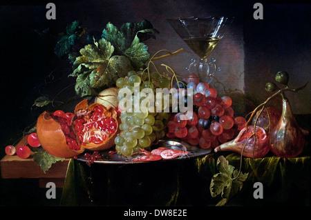 Obst-Stilleben mit gefüllten Weinglas 1650 Jan Davidsz. de Heem 1606-1684 Niederlande Niederlande - Stockfoto