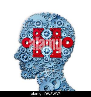 Psychologie puzzle Kopf Konzept mit menschlichem Antlitz in der Seitenansicht des angeschlossenen Getriebe und Zahnräder - Stockfoto
