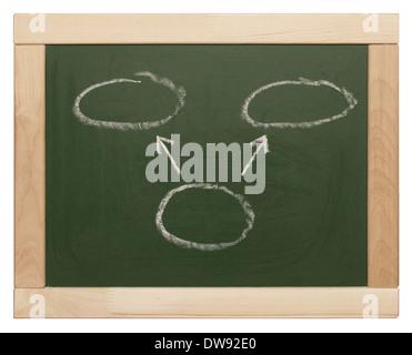 Kreise und Pfeile auf Tafel geschrieben - Stockfoto