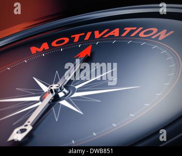 Kompass Nadel nach das Wort Motivation. Konzept Bild, Illustration von motivational Quotes. 3D-Render mit blur Effekt. - Stockfoto