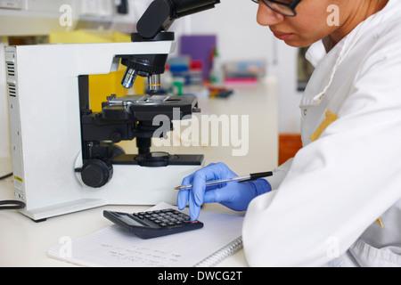 Wissenschaftlerin mit Taschenrechner - Stockfoto