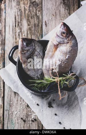 Draufsicht auf Schlepp, Dorado Rohfisch mit Rosmarin und Meer Salz Server in schwarz über alten Holztisch schwenken. - Stockfoto
