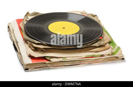 Stapeln von alten Vinyl-Schallplatten, isoliert auf weiss