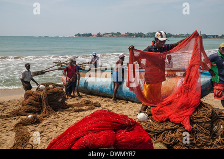 Einrichten von Fischer Netze Galle SriLanka - Stockfoto