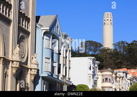 Coit Tower, North Beach Viertel, San Francisco, Kalifornien, Vereinigte Staaten von Amerika, Nordamerika - Stockfoto