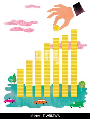 Anschauliches Bild Geschäftsmann Hand machen Bar Graph mit Münzen die Investition - Stockfoto