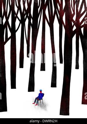 Anschauliches Bild des Menschen umgeben von Bäumen, Verwirrung darstellt - Stockfoto