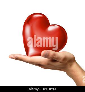 Mannes Hand hält ein rotes glänzendes Herz auf Palm, von einer Seite betrachtet. Auf weißem Hintergrund. Clipping - Stockfoto