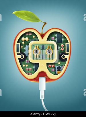 Anschauliches Bild von Maschinen im Apple Online-Rezepte vertreten - Stockfoto