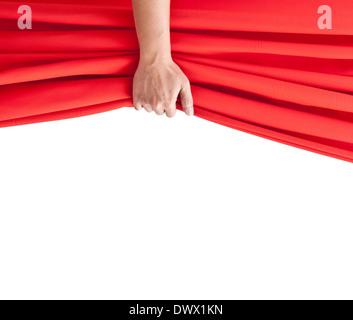 Hand öffnen roten Vorhang auf weiß. - Stockfoto