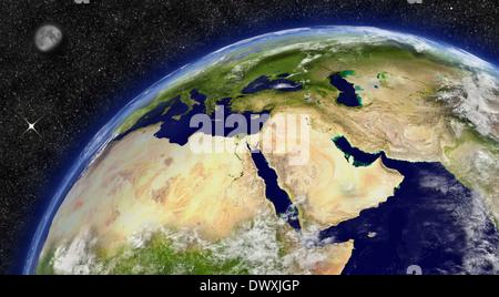 Nahost-Region auf dem Planeten Erde aus dem Weltraum mit Mond und Sternen im Hintergrund. Elemente des Bildes von - Stockfoto