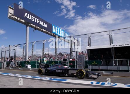 Melbourne, Australien. 15. März 2014. McLaren Formel-1-Fahrer Jenson Button England fährt während der dritten Praxis - Stockfoto
