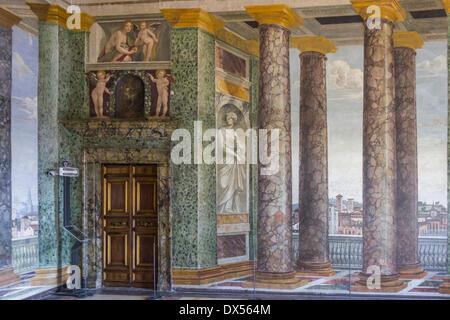 Perspektiven Hall, Villa Farnesina, Rom, Latium, Italien - Stockfoto