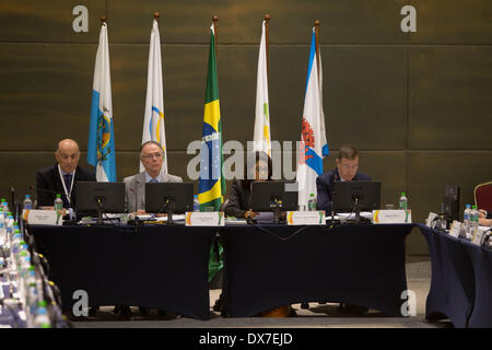 Rio De Janeiro, Brasilien. 19. März 2014. Vertreter teilnehmen eine Plenarsitzung der Koordinierungskommission des - Stockfoto