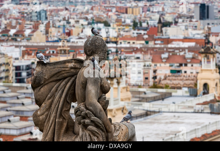 Stadt sehen, von den Stufen des Museu Nacional d ' Art de Catalunya, Barcelona, Spanien - Stockfoto